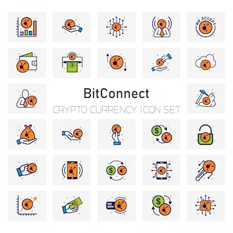 Bit connect crypto currency icons set
