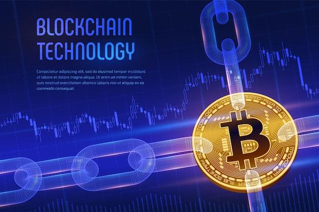 Bitcoin. 3d золотой биткойн с каркасной цепочкой на синем финансовом фоне