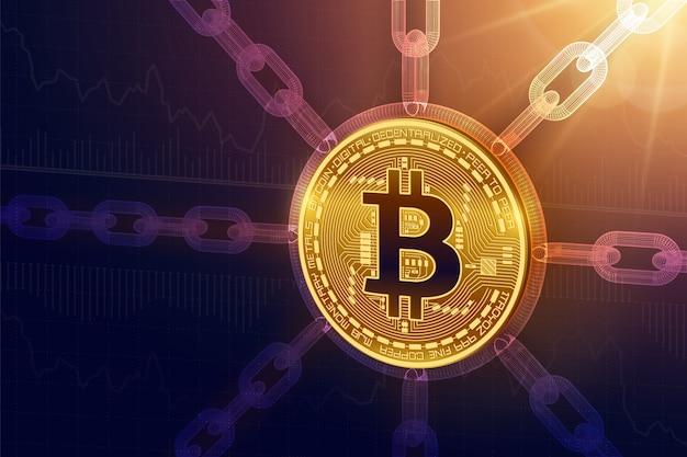 Bitcoin. 3d изометрическая физическая биткойн-монета с каркасной цепочкой
