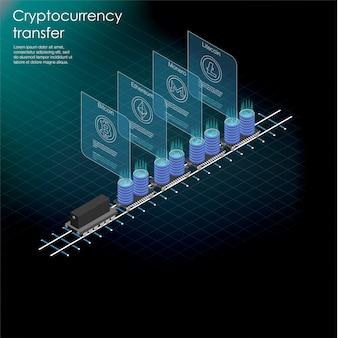Равновеликое знамя с фермой майнинга bitcoin, концепцией минирования криптовалюты, финансовым равновеликим 3d. эфириум блокчейн изометрический, серверная комната стойка. сервер фермы майнинга криптовалют.