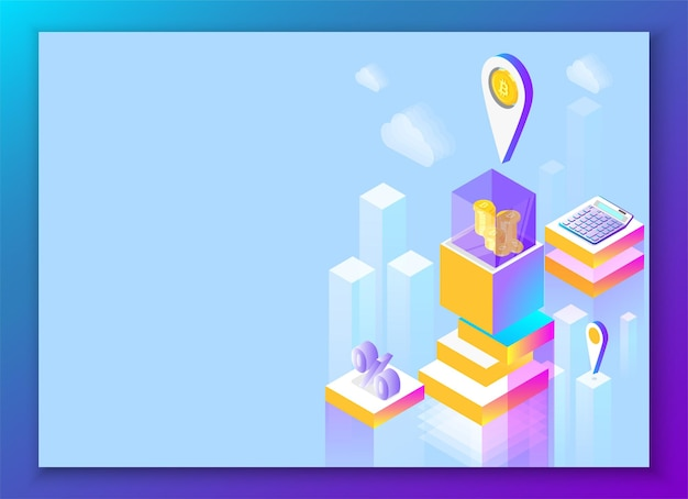 Биткойн и криптовалюта синий финансовый фон целевая страница или шаблон презентации абстрактная изометрическая иллюстрация