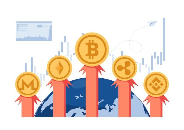 비트코인과 암호화폐 로켓이 세상 밖으로 날아갑니다. cryptocurrency 투자 및 blockchain 기술 개념.