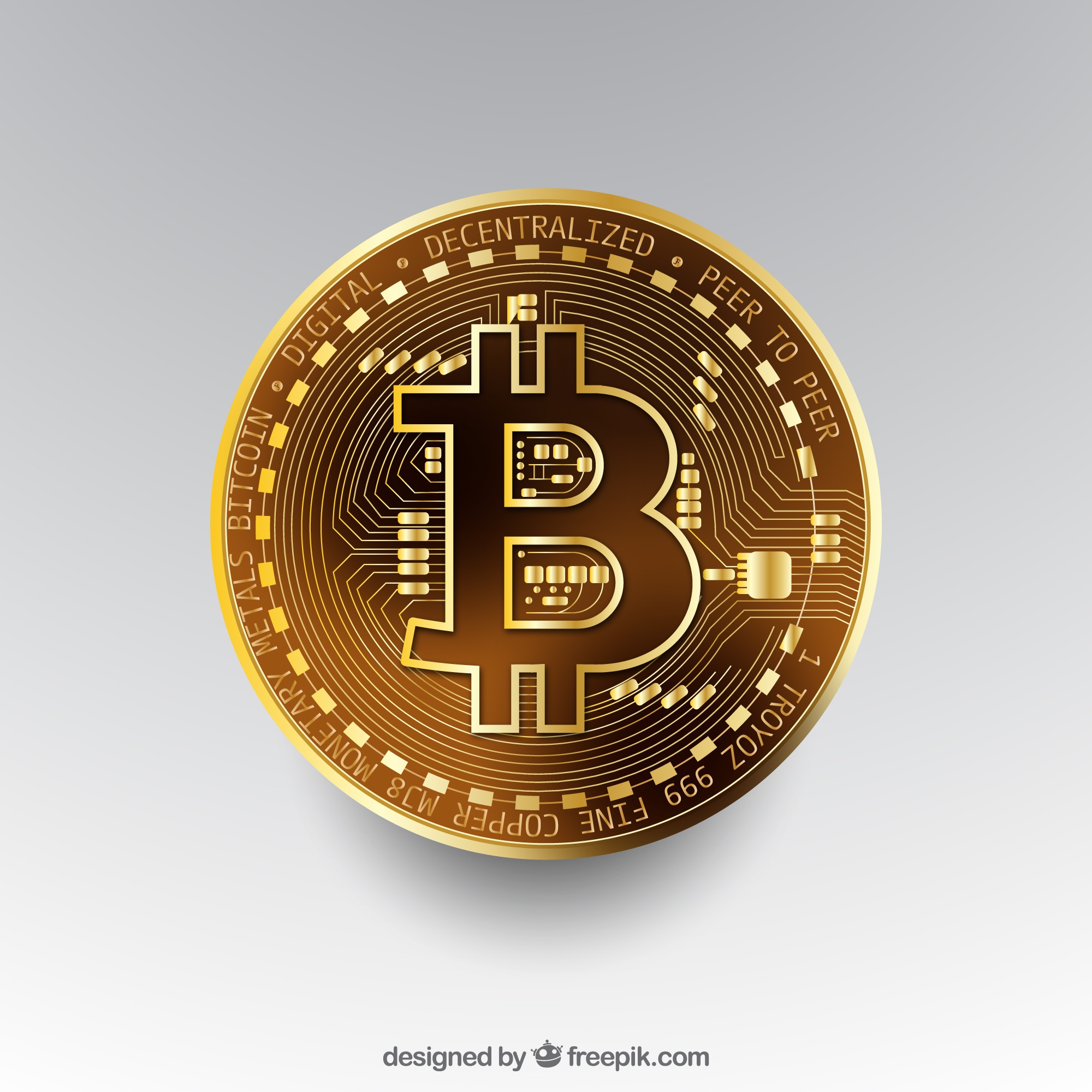 Bitcoin background with golden coin