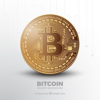 Bitcoin background with shiny coin