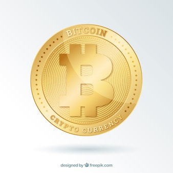 Bitcoin background with shiny golden coin