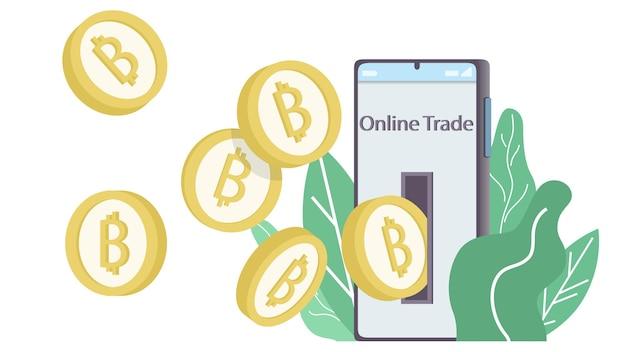 ビットコインブロックチェーン暗号通貨の概念。暗号通貨の黄金のコインは、木の葉を背景にした最小限のデザインで携帯電話から出てきます。