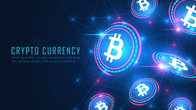 Bitcoin blockchain technology flying artwork concept