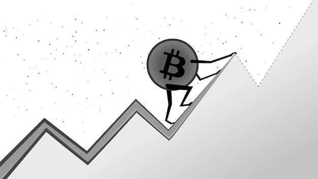 Bitcoin btc는 흰색에서 다음 피크로 오르고 있습니다. 암호화폐는 역대 최고치를 기록했습니다. 달에 btc 코인.