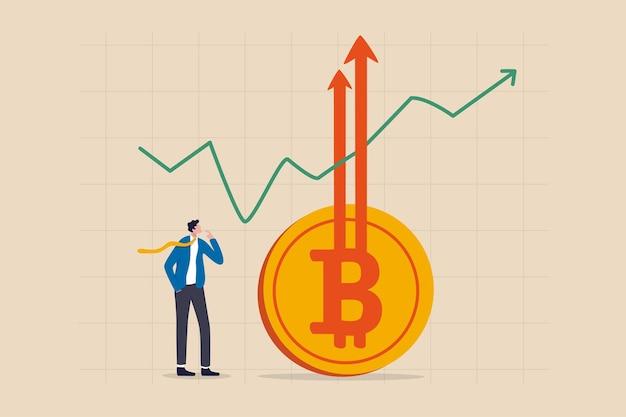 Bitcoin btc price soaring sky high hit illustration