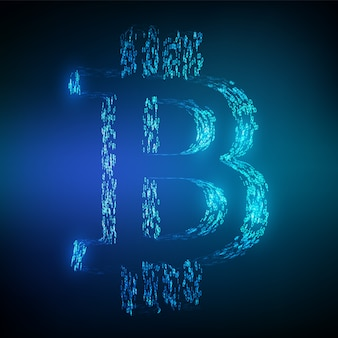 Bitcoin btc symbol formed by binary code. block chain concept.