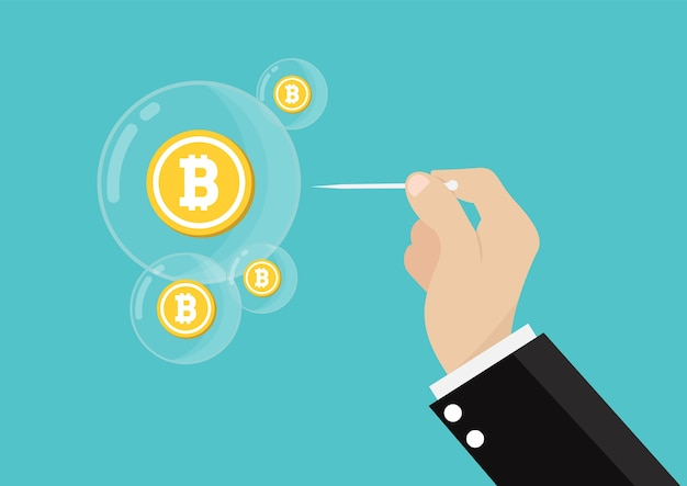 Bitcoin bubble burst concept.