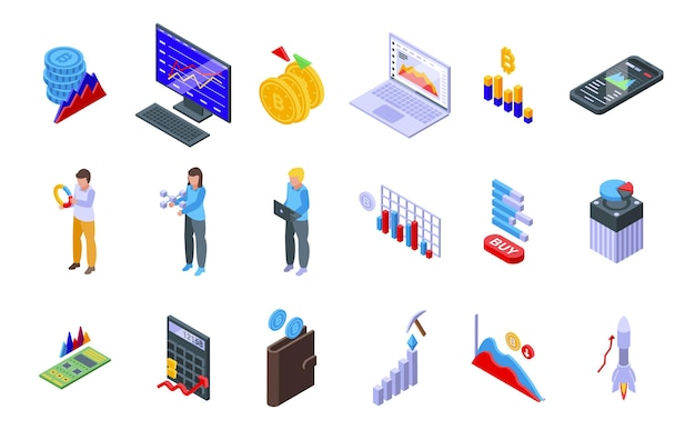 Bitcoin chart icons set. isometric set of bitcoin chart vector icons for web design isolated on white background
