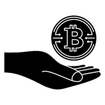 Bitcoin coin crypto currency coin bitcoin symbol hand with digital money