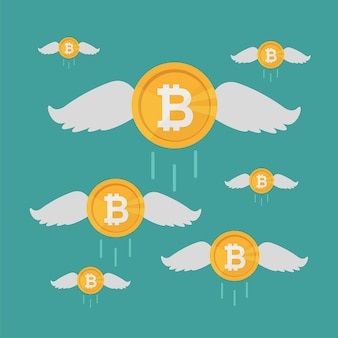 Bitcoin coin flies with wings, crypto currency growing concept. business concept, flat cartoon vector illustration.