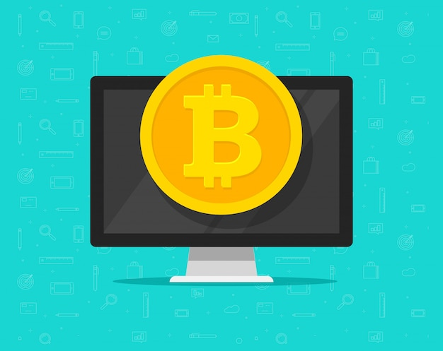 Bitcoin coin money on computer