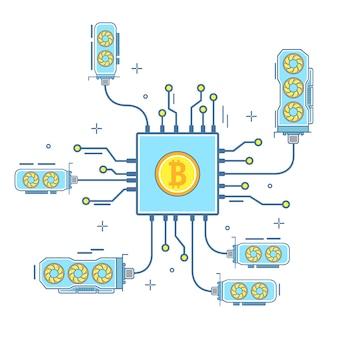 平らな直線的なスタイルのビットコインの概念図
