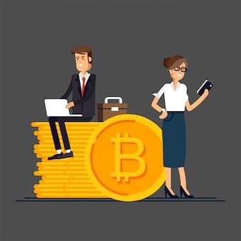 ビジネスマンやビジネスウーマンのオンライン資金調達のためのラップトップとスマートフォンを使用して、ビットコインとブロックチェーンへの投資を行うのビットコインの概念図。 Premiumベクター