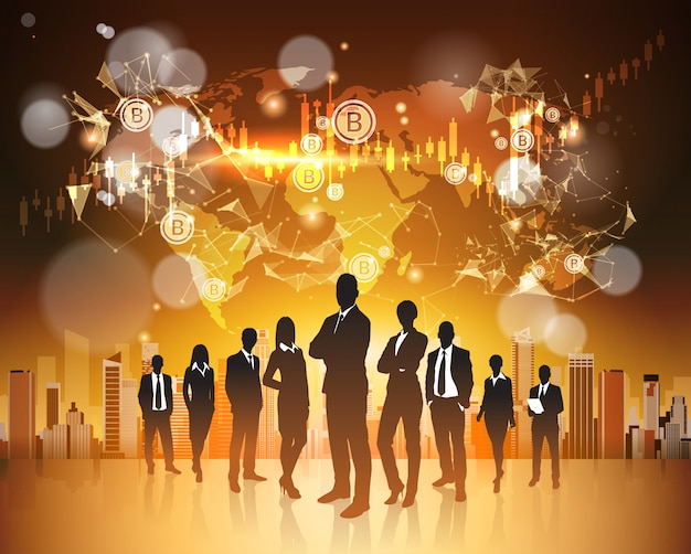 Bitcoin concept silhouette group of business people over world map crupto currency digital web money