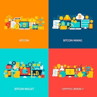 비트코인 개념. 포스터 디자인 벡터 일러스트 레이 션. cryptocurrency 다채로운 개체의 집합입니다.