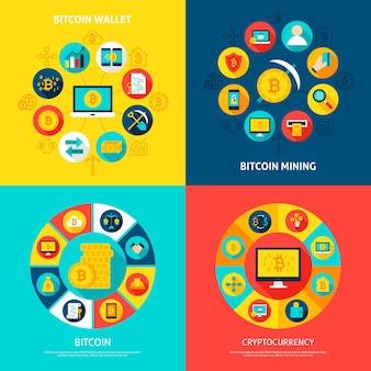 Bitcoin 개념을 설정합니다. 플랫 아이콘으로 금융 인포 그래픽 원의 벡터 일러스트 레이 션.
