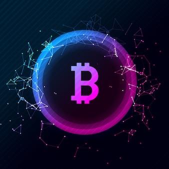 Bitcoin 개념적 빛나는 배경. 암호화폐 블록체인 비즈니스 마이닝 비트코인.