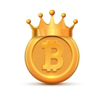 Биткойн корона король логотип. золотая монета биткойн мультфильм криптовалюта.