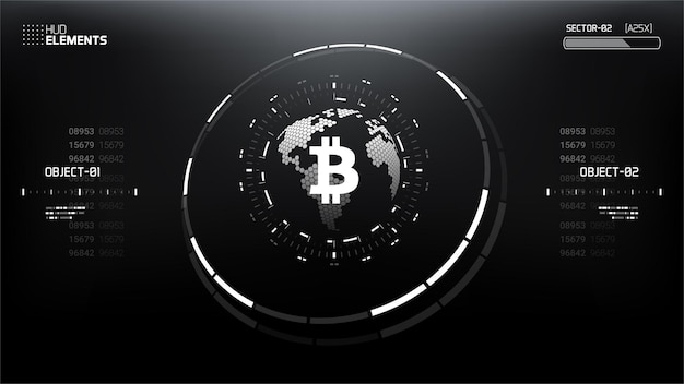 Bitcoin cryprocurrency futuristic vector illustration for background, hud, graphic user interface, banner, business and finance infographics and more. worldwide digital money blockchain system