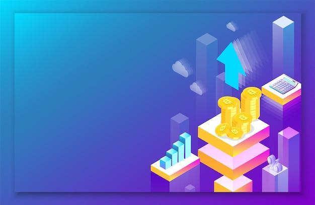 Криптовалюта биткойн и рост доходов фиолетовый фон целевая страница или шаблон презентации абстрактная изометрическая иллюстрация