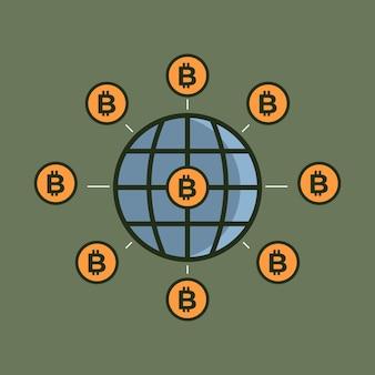 Bitcoin cryptocurrency가 세계를 인수하고 있습니다. bitcoin 세계 벡터 일러스트 레이 션