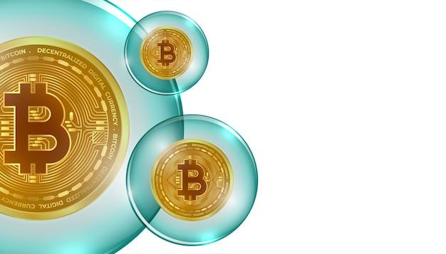 Sfondo del concetto di bolla di criptovaluta bitcoin bitcoin