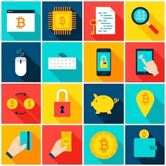 Bitcoin cryptocurrency 다채로운 아이콘입니다. 벡터 일러스트 레이 션. 긴 그림자와 평면 사각형 금융 항목의 집합입니다.