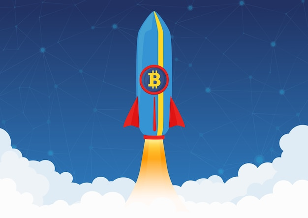 Bitcoin cryptocurrency concept. rocket flying to the moon with bitcoin icon. crypto market rising.