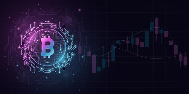Bitcoin cryptocurrency in a futuristic style with candlestick price pattern background. digital coin btc for banner, website or presentation. blockchain for graphic design. vector illustration
