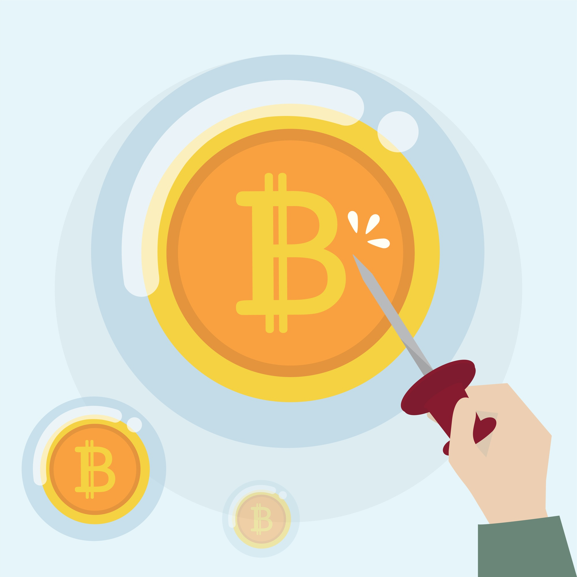 Bitcoin cryptocurrency in a bubble state