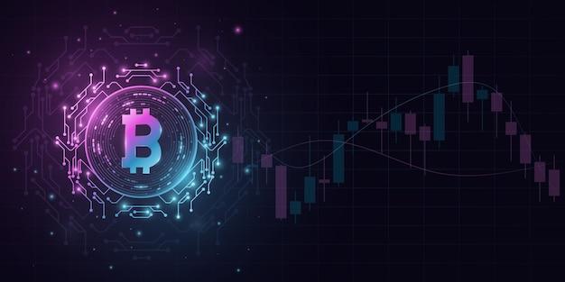 Криптовалюта биткойн в футуристическом стиле с фоном образца цены свечи. цифровая монета btc для баннера, веб-сайта или презентации. блокчейн для графического дизайна. векторная иллюстрация