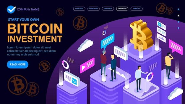 ビットコイン暗号通貨アイソメトリックコンセプト、アイソメトリックコンセプトバナー、マーケティングと金融アイソメトリックコンセプト