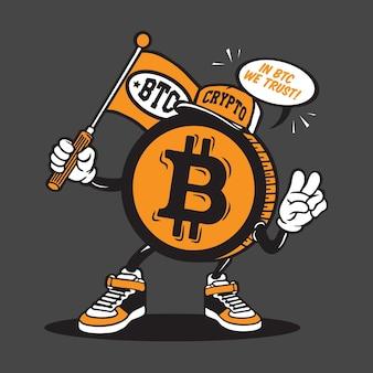 Дизайн персонажей талисмана криптовалюты bitcoin