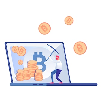 Bitcoin, cryptocurrency miner vector illustration