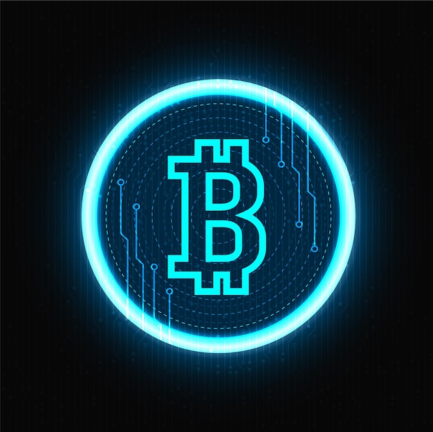 Bitcoin cryptocurrency neon symbol on black