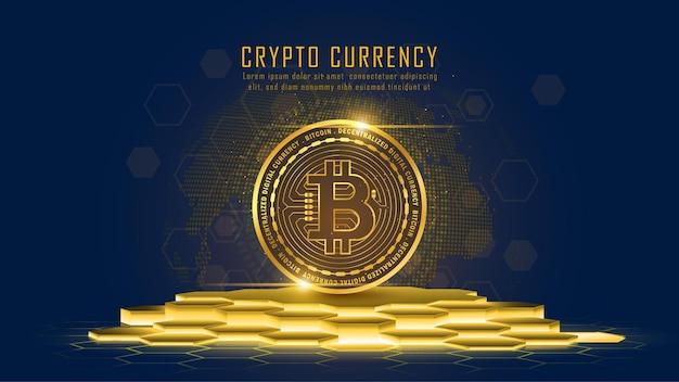 台座上のビットコイン暗号通貨
