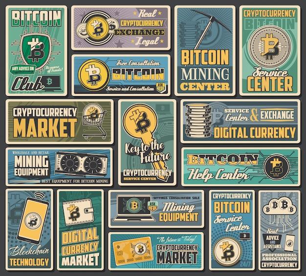 Биткойн-криптовалюта ретро-баннеры обмена цифровых денег, транзакции блокчейна и добычи криптовалюты. сетевые финансовые технологии, цифровой кошелек, портативный компьютер, мобильный телефон