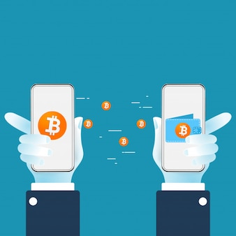 Bitcoin cryptocurrency transferring digital money from wallet to another wallet.