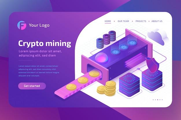 Концепция фермы bitcoin cryptomining. блокчейн-концепция майнинга виртуальных денег. изометрический
