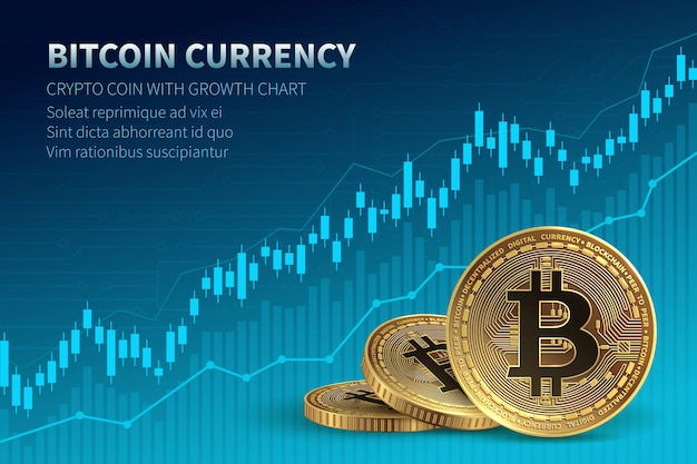 Bitcoin currency. crypto coin with growth chart. international stock exchange.
