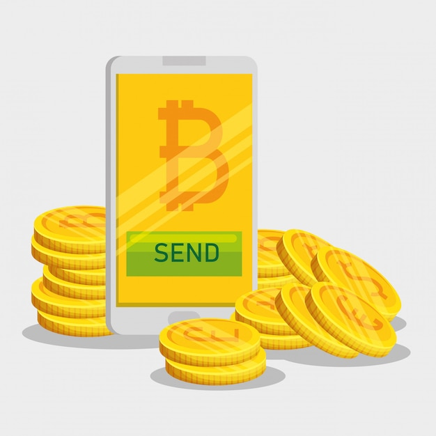 Bitcoin currency and smartphone