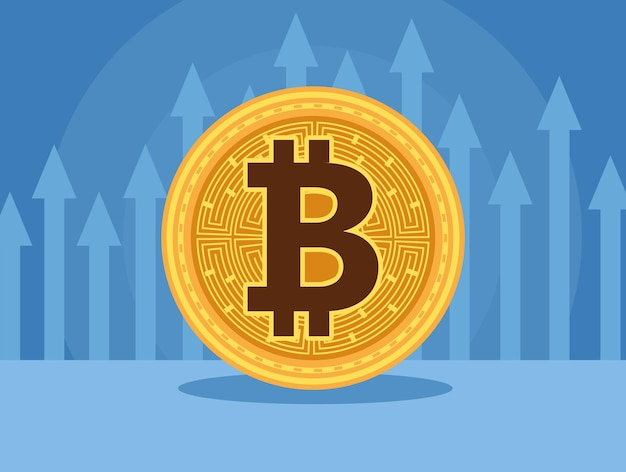 Bitcoin cyber money technology with arrows up statistics vector illustration design