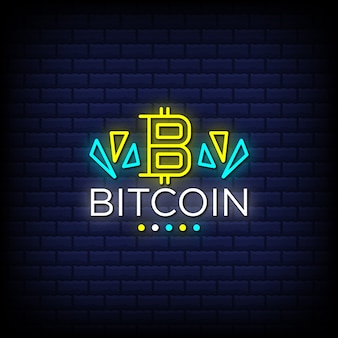 Bitcoin digital cryptocurrency neon signs style text Premium Vector