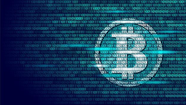 Bitcoin digital cryptocurrency sign binary code number, big data