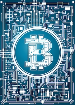 ビットコインのデジタル通貨の背景。未来的なチップセット技術ネットワークの概念。ベクトル青い縦の図。