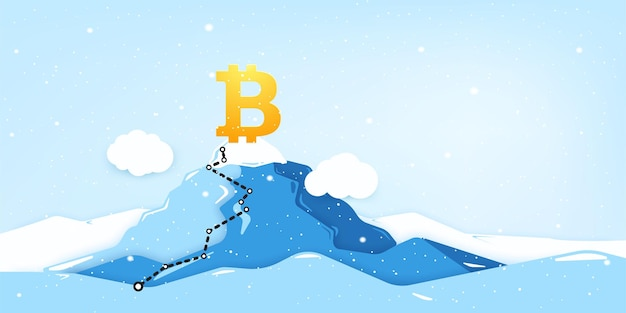Знак цифровой валюты bitcoin на вершине горы